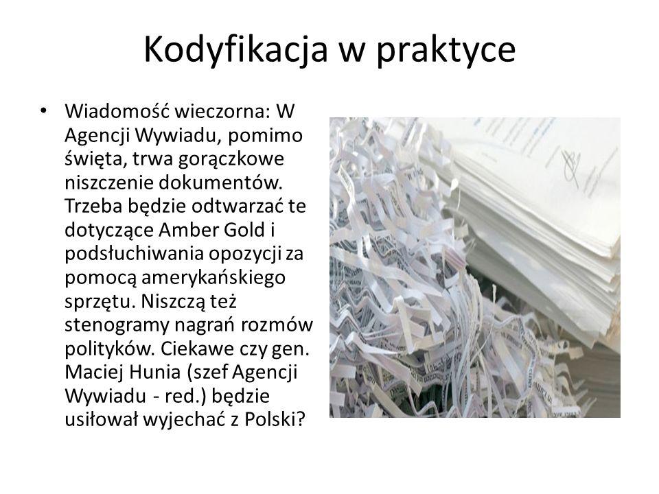Kodyfikacja w praktyce Wiadomość wieczorna: W Agencji Wywiadu, pomimo święta, trwa gorączkowe niszczenie dokumentów.