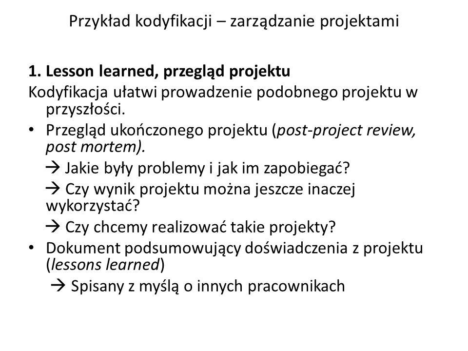 Przykład kodyfikacji – zarządzanie projektami 1.