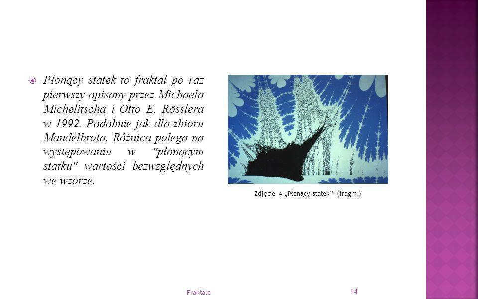  Płonący statek to fraktal po raz pierwszy opisany przez Michaela Michelitscha i Otto E. Rösslera w 1992. Podobnie jak dla zbioru Mandelbrota. Różnic