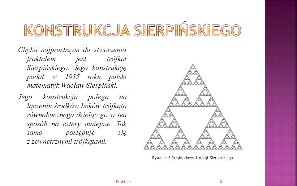 Chyba najprostszym do stworzenia fraktalem jest trójkąt Sierpińskiego. Jego konstrukcję podał w 1915 roku polski matematyk Wacław Sierpiński. Jego kon