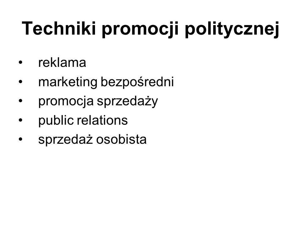 Techniki promocji politycznej reklama marketing bezpośredni promocja sprzedaży public relations sprzedaż osobista