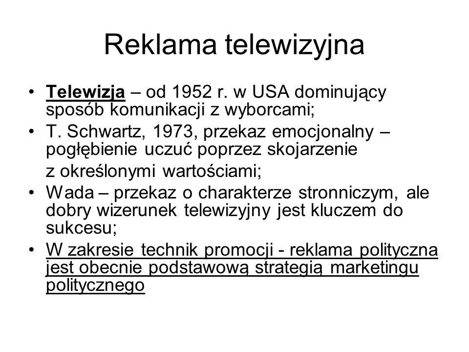 Reklama telewizyjna Telewizja – od 1952 r.w USA dominujący sposób komunikacji z wyborcami; T.