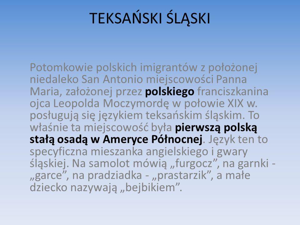TEKSAŃSKI ŚLĄSKI Potomkowie polskich imigrantów z położonej niedaleko San Antonio miejscowości Panna Maria, założonej przez polskiego franciszkanina ojca Leopolda Moczymordę w połowie XIX w.