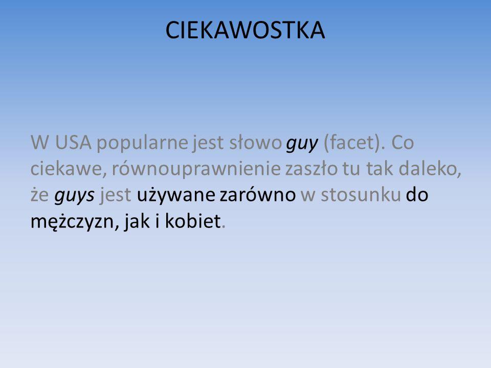 CIEKAWOSTKA W USA popularne jest słowo guy (facet).