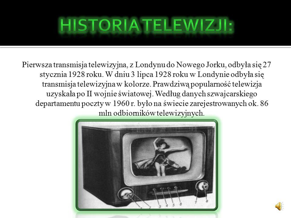 Pierwsza transmisja telewizyjna, z Londynu do Nowego Jorku, odbyła się 27 stycznia 1928 roku.