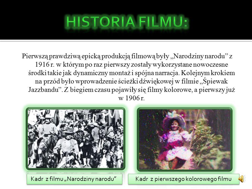 """Za pierwszy, inscenizowany film fabularny uznaje się Polanego ogrodnika z roku 1895, jednak pierwsze filmy """"opowiadające jakieś historię'' rozkwitły w XX w."""