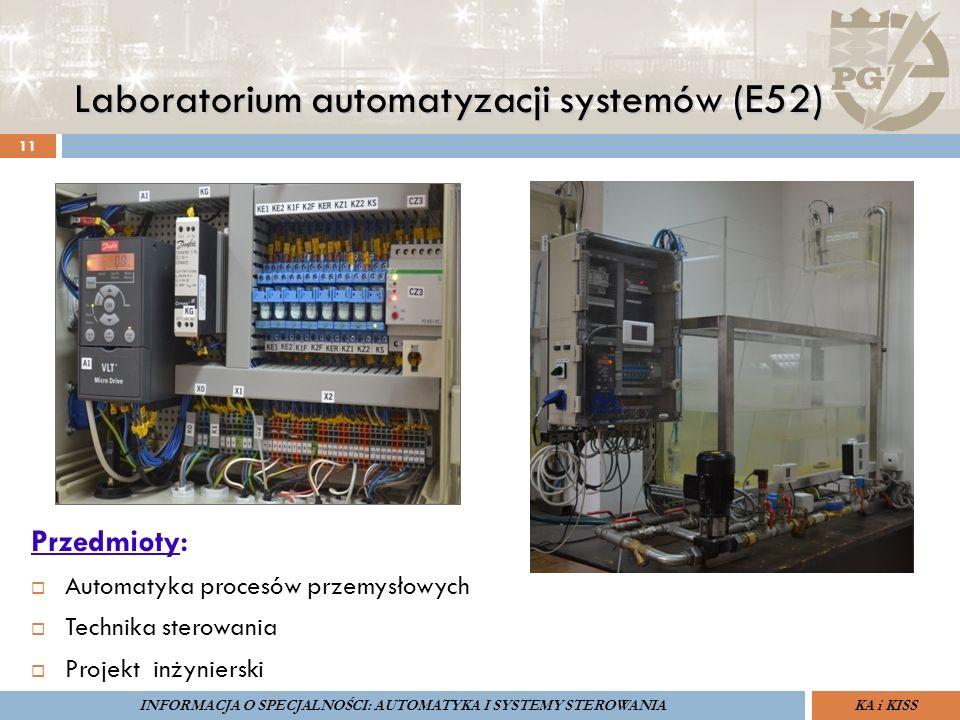 Laboratorium automatyzacji systemów (E52) 11 ZARZĄDZANIE BEZPIECZEŃSTWEM FUNKCJONALNYM IV SOPOT, 15-16 V 2013ZBF IV ProSIL-EALSEMINARIUM W RAMACH PROJEKTU VI.B.10 GDAŃSK, 21 XI 2013 KA i KISSINFORMACJA O SPECJALNOŚCI: AUTOMATYKA I SYSTEMY STEROWANIA Przedmioty:  Automatyka procesów przemysłowych  Technika sterowania  Projekt inżynierski