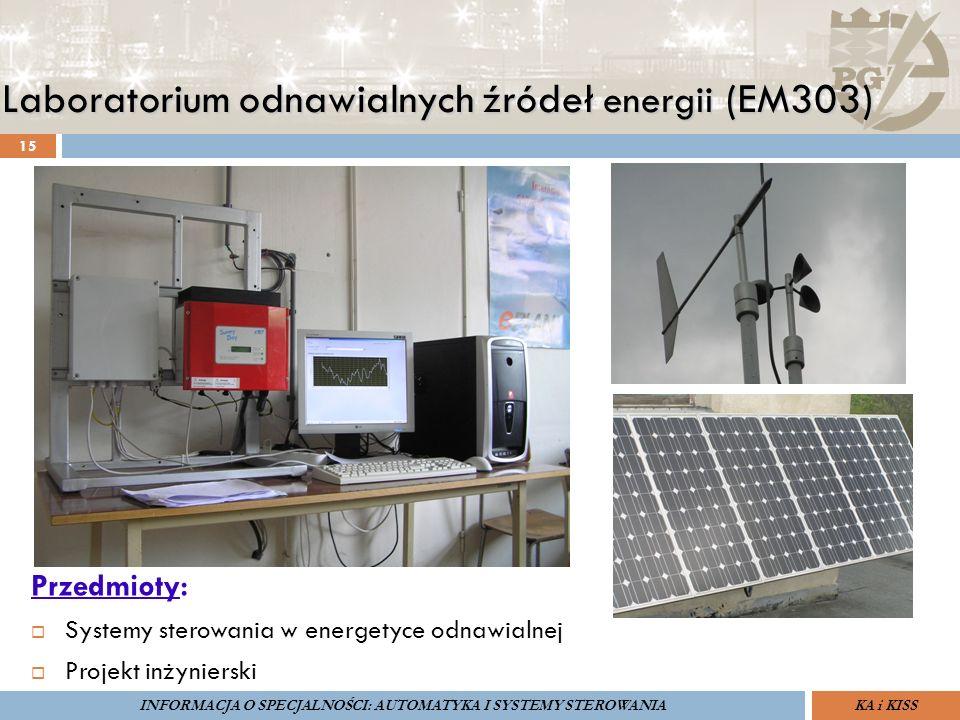 Laboratorium odnawialnych źródeł energii (EM303) 15 ZARZĄDZANIE BEZPIECZEŃSTWEM FUNKCJONALNYM IV SOPOT, 15-16 V 2013ZBF IV ProSIL-EALSEMINARIUM W RAMACH PROJEKTU VI.B.10 GDAŃSK, 21 XI 2013 KA i KISSINFORMACJA O SPECJALNOŚCI: AUTOMATYKA I SYSTEMY STEROWANIA Przedmioty:  Systemy sterowania w energetyce odnawialnej  Projekt inżynierski