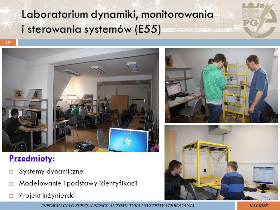 Laboratorium dynamiki, monitorowania i sterowania systemów (E55) 17 Przedmioty:  Systemy dynamiczne  Modelowanie i podstawy identyfikacji  Projekt
