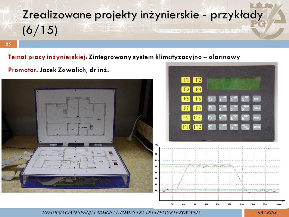 Zrealizowane projekty inżynierskie - przykłady (6/15) 25 ZARZĄDZANIE BEZPIECZEŃSTWEM FUNKCJONALNYM IV SOPOT, 15-16 V 2013ZBF IV ProSIL-EALSEMINARIUM W RAMACH PROJEKTU VI.B.10 GDAŃSK, 21 XI 2013 KA i KISSINFORMACJA O SPECJALNOŚCI: AUTOMATYKA I SYSTEMY STEROWANIA Temat pracy inżynierskiej: Zintegrowany system klimatyzacyjno – alarmowy Promotor: Jacek Zawalich, dr inż.