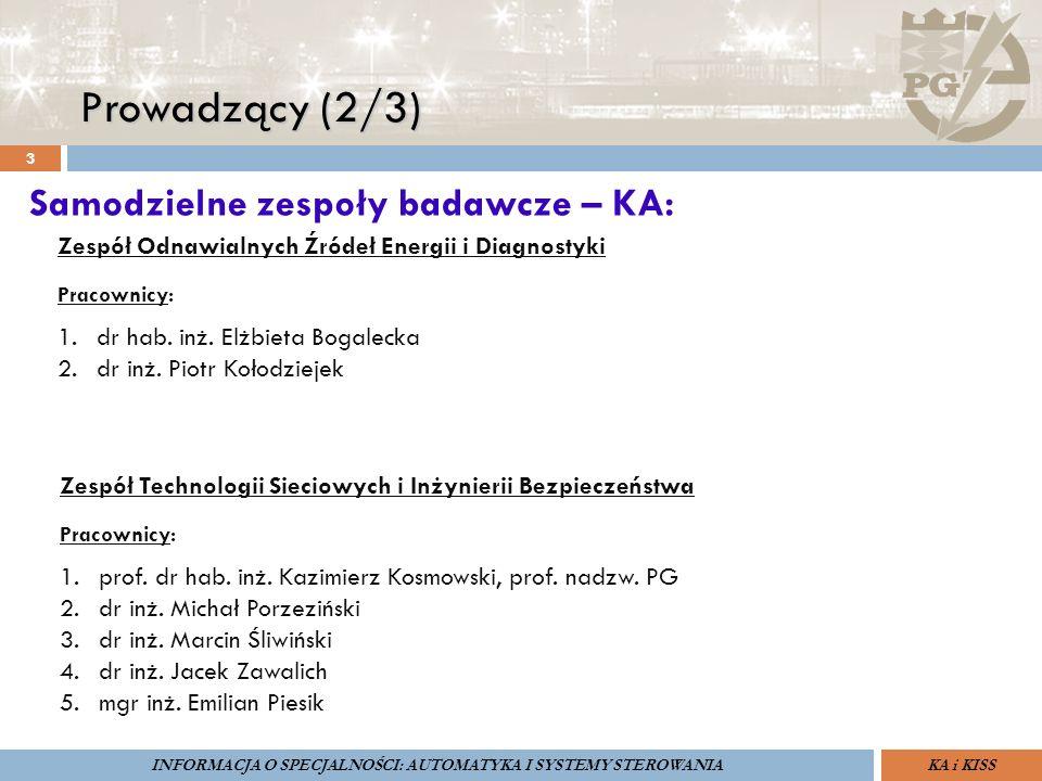 Prowadzący (2/3) 3 ZARZĄDZANIE BEZPIECZEŃSTWEM FUNKCJONALNYM IV SOPOT, 15-16 V 2013ZBF IV ProSIL-EALSEMINARIUM W RAMACH PROJEKTU VI.B.10 GDAŃSK, 21 XI 2013 KA i KISSINFORMACJA O SPECJALNOŚCI: AUTOMATYKA I SYSTEMY STEROWANIA Samodzielne zespoły badawcze – KA: Zespół Odnawialnych Źródeł Energii i Diagnostyki Pracownicy: 1.dr hab.