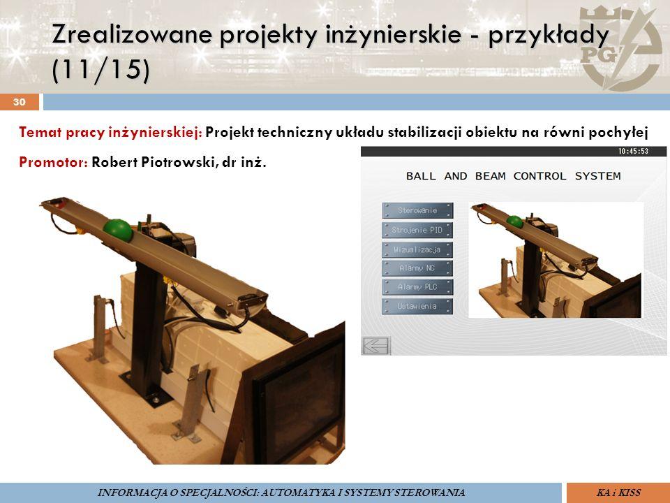 Zrealizowane projekty inżynierskie - przykłady (11/15) 30 ZARZĄDZANIE BEZPIECZEŃSTWEM FUNKCJONALNYM IV SOPOT, 15-16 V 2013ZBF IV ProSIL-EALSEMINARIUM