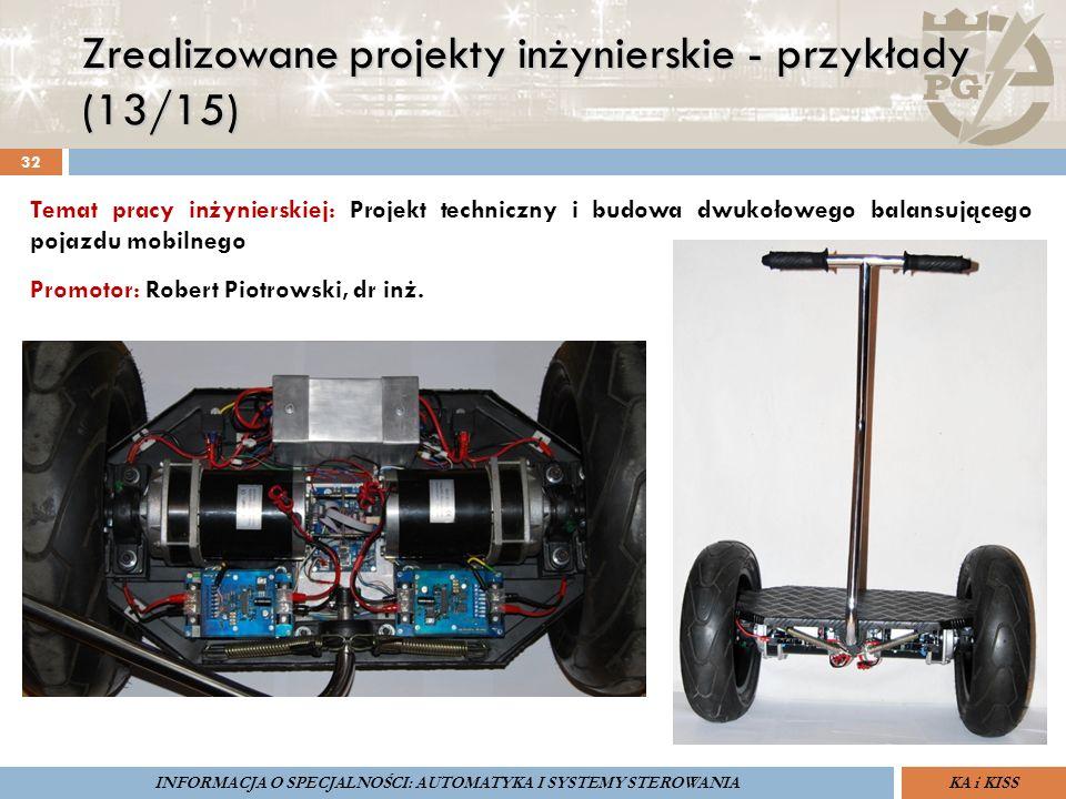 Zrealizowane projekty inżynierskie - przykłady (13/15) 32 ZARZĄDZANIE BEZPIECZEŃSTWEM FUNKCJONALNYM IV SOPOT, 15-16 V 2013ZBF IV ProSIL-EALSEMINARIUM