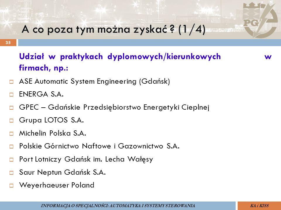 A co poza tym można zyskać ? (1/4) 35 Udział w praktykach dyplomowych/kierunkowych w firmach, np.:  ASE Automatic System Engineering (Gdańsk)  ENERG
