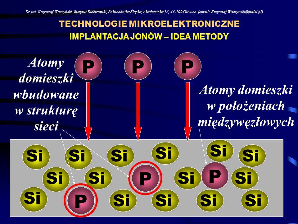 TECHNOLOGIE MIKROELEKTRONICZNE Dr inż. Krzysztof Waczyński, Instytut Elektroniki, Politechnika Śląska, Akademicka 16, 44-100 Gliwice (email: Krzysztof