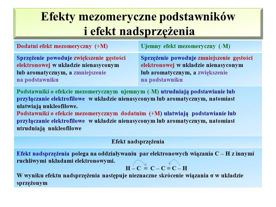 Efekt sprzężenia (mezomeryczny) Efekt mezomeryczny – oddziaływanie wolnych par elektronowych podstawnika lub wiązania π z innymi wiązaniami π, lub ele