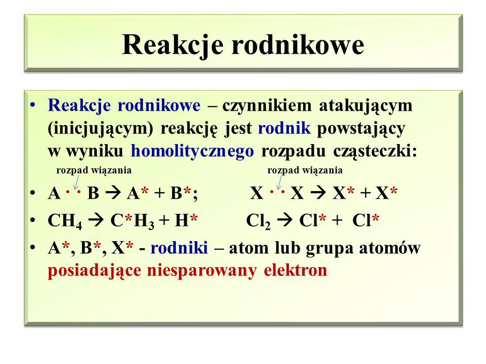 Typy reakcji w chemii organicznej Podział reakcji ze względu na mechanizm Reakcje rodnikowe (homolityczne) Reakcje jonowe (hetrolityczne ) Reakcje ele