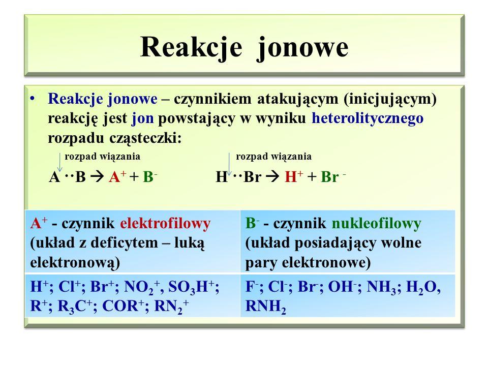 Reakcje rodnikowe Reakcje rodnikowe – czynnikiem atakującym (inicjującym) reakcję jest rodnik powstający w wyniku homolitycznego rozpadu cząsteczki: r