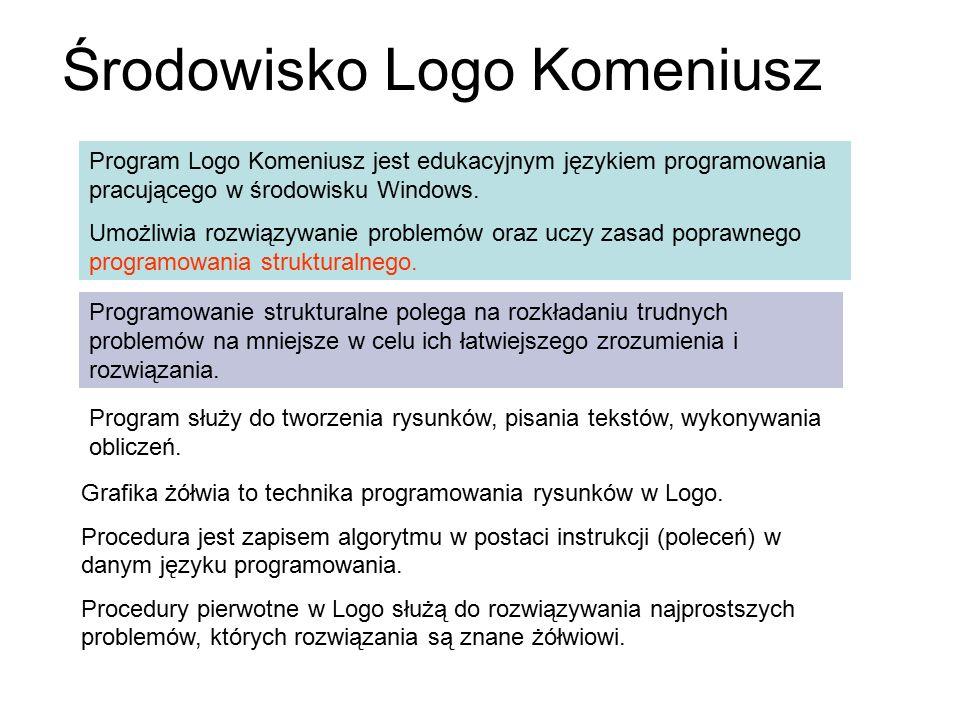 Środowisko Logo Komeniusz Program Logo Komeniusz jest edukacyjnym językiem programowania pracującego w środowisku Windows. Umożliwia rozwiązywanie pro
