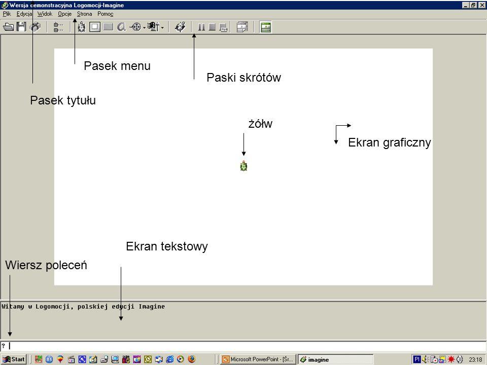 Pasek tytułu Pasek menu Paski skrótów Ekran tekstowy żółw Ekran graficzny Wiersz poleceń
