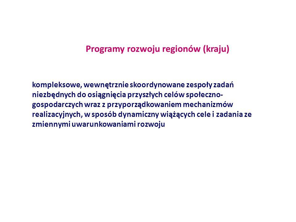 Programy rozwoju regionów (kraju) kompleksowe, wewnętrznie skoordynowane zespoły zadań niezbędnych do osiągnięcia przyszłych celów społeczno- gospodar