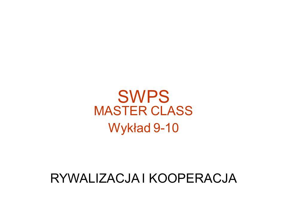 SWPS MASTER CLASS Wykład 9-10 RYWALIZACJA I KOOPERACJA