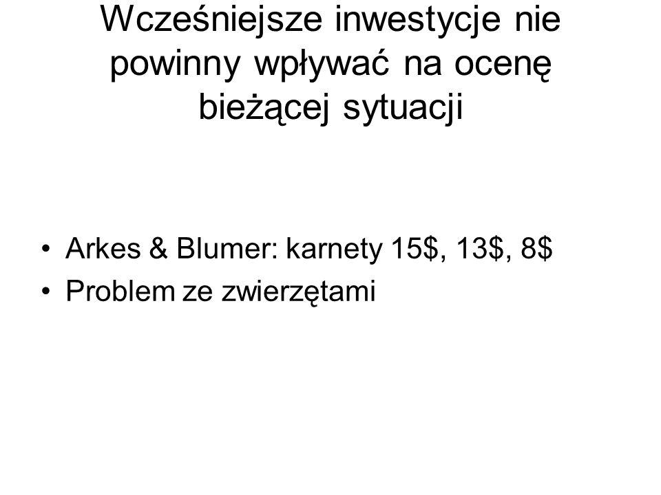 Wcześniejsze inwestycje nie powinny wpływać na ocenę bieżącej sytuacji Arkes & Blumer: karnety 15$, 13$, 8$ Problem ze zwierzętami