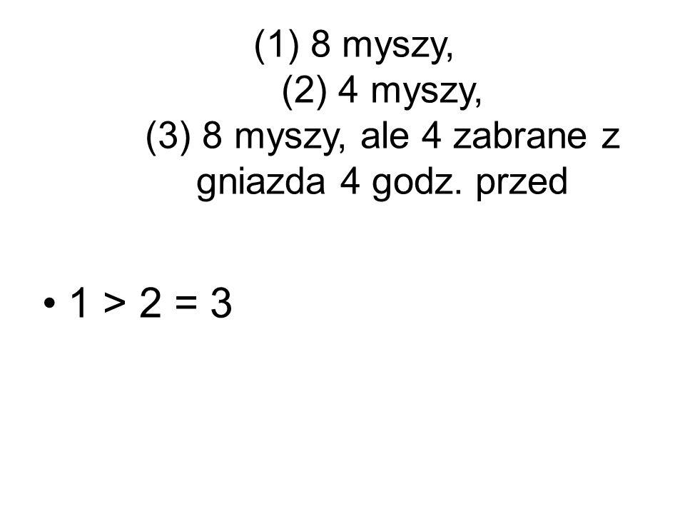 (1)8 myszy, (2) 4 myszy, (3) 8 myszy, ale 4 zabrane z gniazda 4 godz. przed 1 > 2 = 3