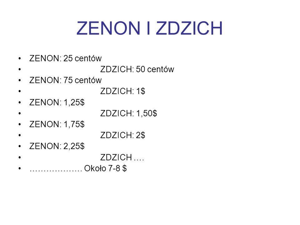 ZENON I ZDZICH ZENON: 25 centów ZDZICH: 50 centów ZENON: 75 centów ZDZICH: 1$ ZENON: 1,25$ ZDZICH: 1,50$ ZENON: 1,75$ ZDZICH: 2$ ZENON: 2,25$ ZDZICH ….