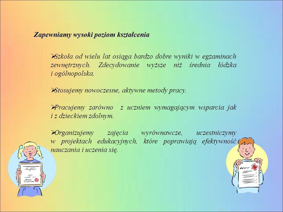  Szkoła od wielu lat osiąga bardzo dobre wyniki w egzaminach zewnętrznych.