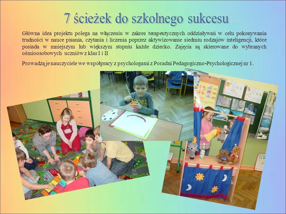 Główna idea projektu polega na włączeniu w zakres terapeutycznych oddziaływań w celu pokonywania trudności w nauce pisania, czytania i liczenia poprzez aktywizowanie siedmiu rodzajów inteligencji, które posiada w mniejszym lub większym stopniu każde dziecko.