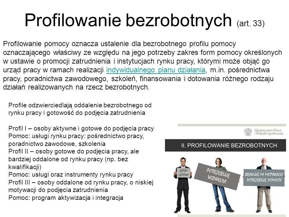 Profilowanie bezrobotnych (art. 33) 2 Profilowanie pomocy oznacza ustalenie dla bezrobotnego profilu pomocy oznaczającego właściwy ze względu na jego