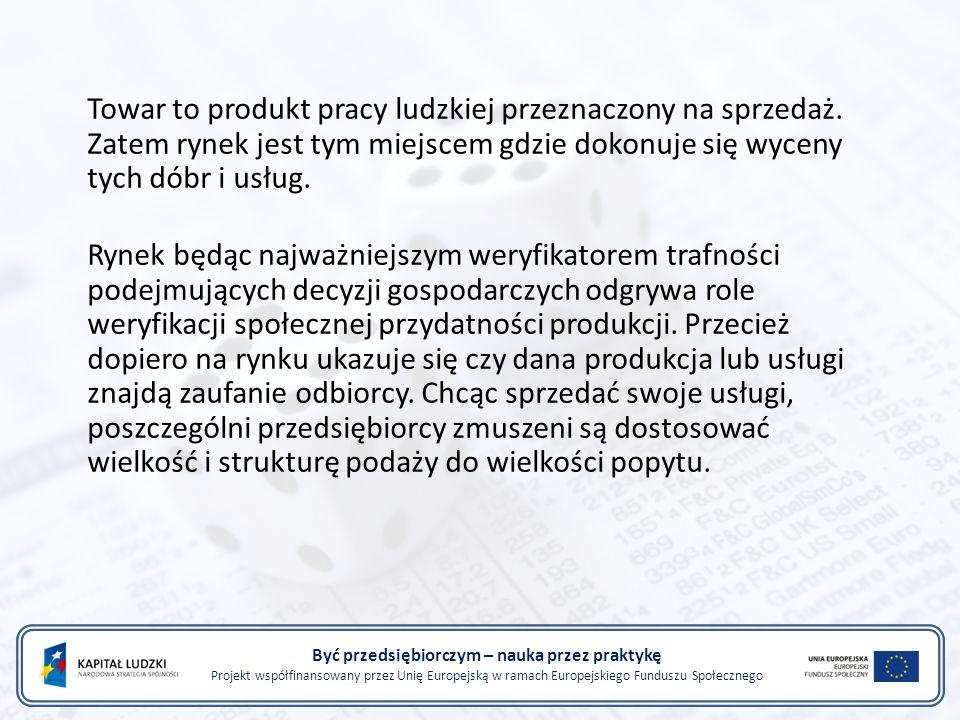Być przedsiębiorczym – nauka przez praktykę Projekt współfinansowany przez Unię Europejską w ramach Europejskiego Funduszu Społecznego Towar to produkt pracy ludzkiej przeznaczony na sprzedaż.
