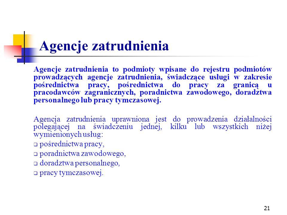 Agencje zatrudnienia Agencje zatrudnienia to podmioty wpisane do rejestru podmiotów prowadzących agencje zatrudnienia, świadczące usługi w zakresie po