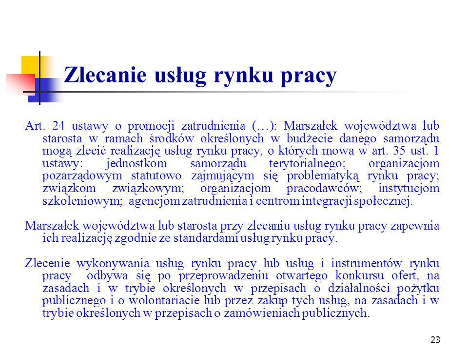 Zlecanie usług rynku pracy Art. 24 ustawy o promocji zatrudnienia (…): Marszałek województwa lub starosta w ramach środków określonych w budżecie dane