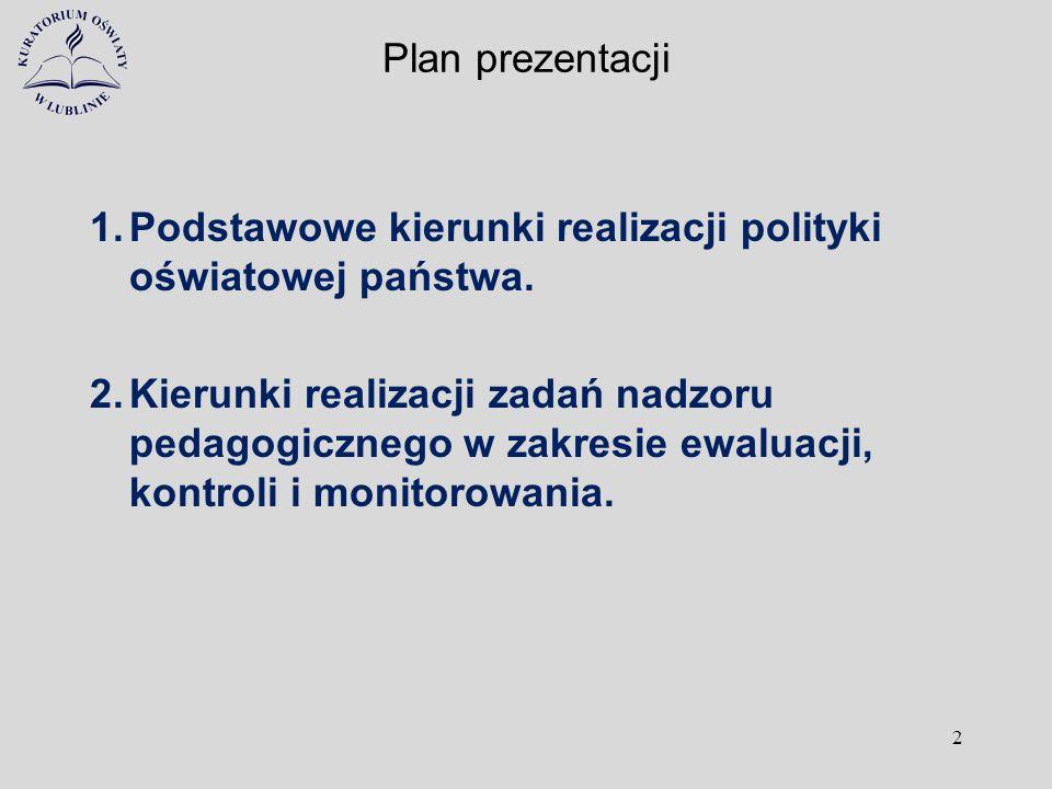 Plan prezentacji 1.Podstawowe kierunki realizacji polityki oświatowej państwa. 2.Kierunki realizacji zadań nadzoru pedagogicznego w zakresie ewaluacji