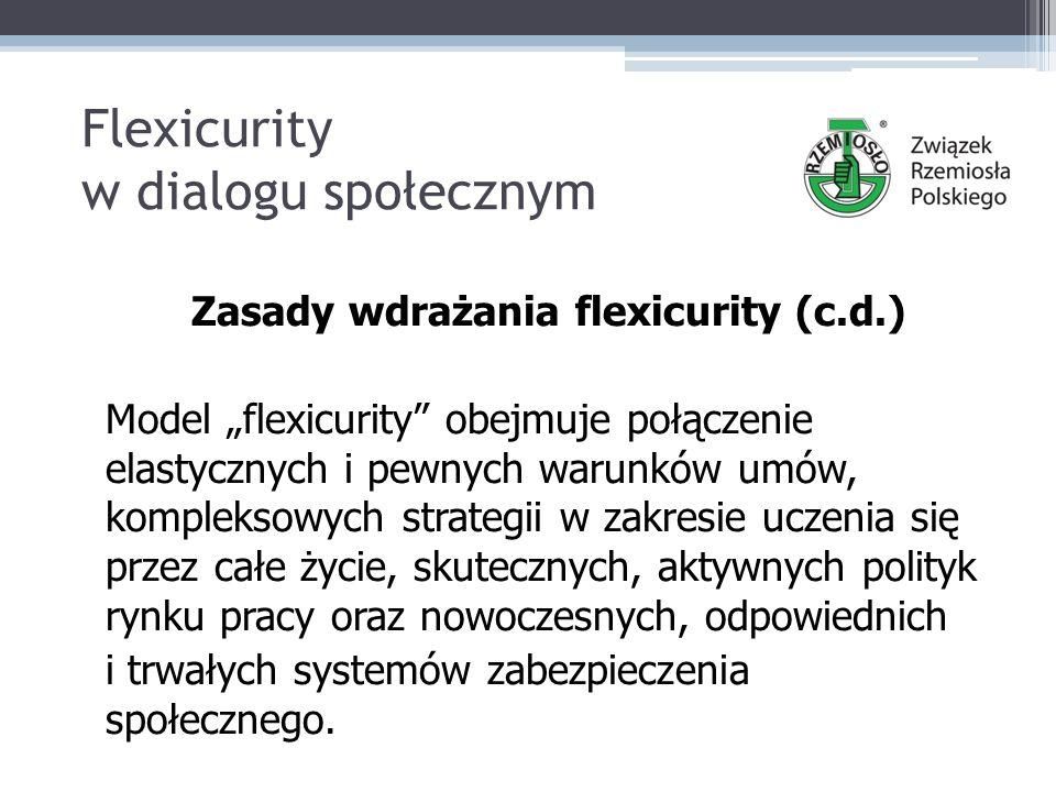 """Flexicurity w dialogu społecznym Zasady wdrażania flexicurity (c.d.) Model """"flexicurity obejmuje połączenie elastycznych i pewnych warunków umów, kompleksowych strategii w zakresie uczenia się przez całe życie, skutecznych, aktywnych polityk rynku pracy oraz nowoczesnych, odpowiednich i trwałych systemów zabezpieczenia społecznego."""