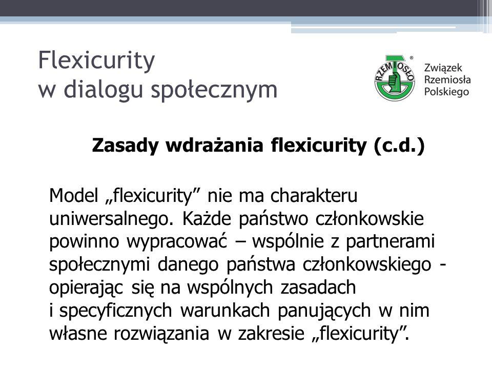 """Flexicurity w dialogu społecznym Zasady wdrażania flexicurity (c.d.) Model """"flexicurity nie ma charakteru uniwersalnego."""