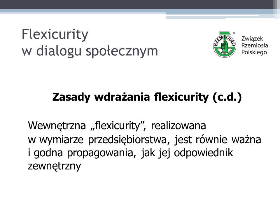 """Flexicurity w dialogu społecznym Zasady wdrażania flexicurity (c.d.) Wewnętrzna """"flexicurity , realizowana w wymiarze przedsiębiorstwa, jest równie ważna i godna propagowania, jak jej odpowiednik zewnętrzny"""