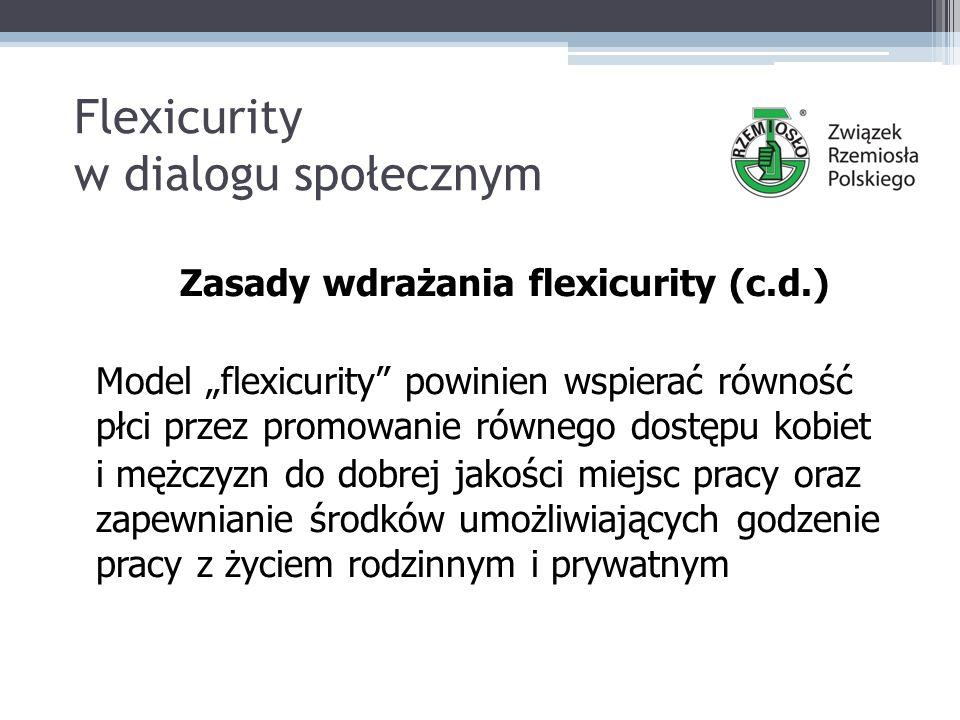 """Flexicurity w dialogu społecznym Zasady wdrażania flexicurity (c.d.) Model """"flexicurity powinien wspierać równość płci przez promowanie równego dostępu kobiet i mężczyzn do dobrej jakości miejsc pracy oraz zapewnianie środków umożliwiających godzenie pracy z życiem rodzinnym i prywatnym"""