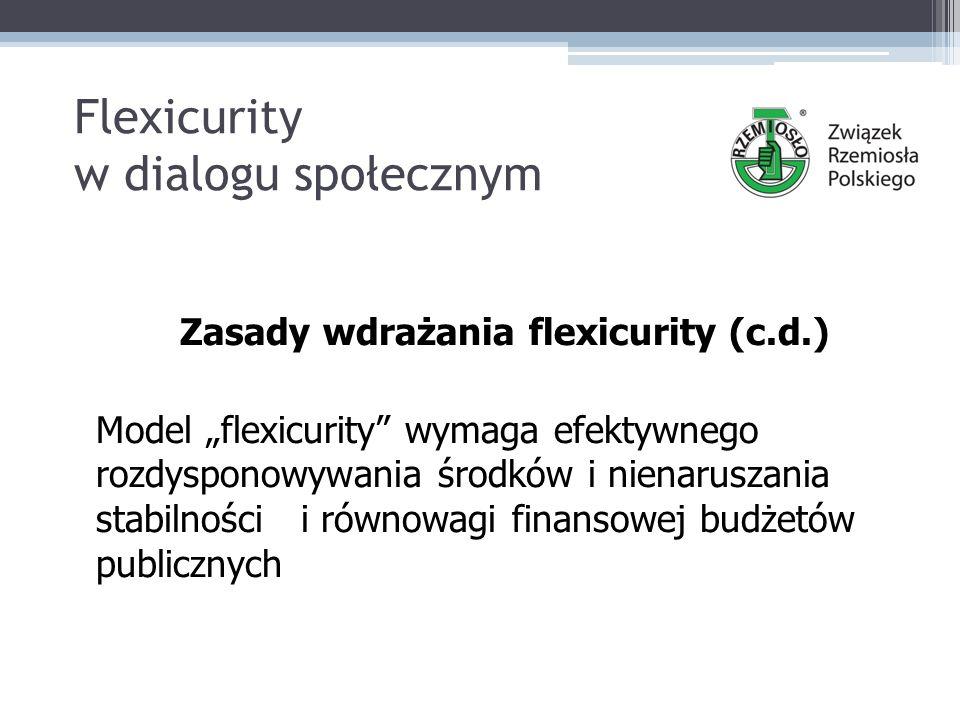 """Flexicurity w dialogu społecznym Zasady wdrażania flexicurity (c.d.) Model """"flexicurity wymaga efektywnego rozdysponowywania środków i nienaruszania stabilności i równowagi finansowej budżetów publicznych"""