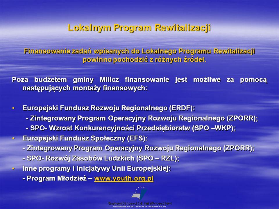 Lokalnym Program Rewitalizacji Finansowanie zadań wpisanych do Lokalnego Programu Rewitalizacji powinno pochodzić z różnych źródeł. Poza budżetem gmin