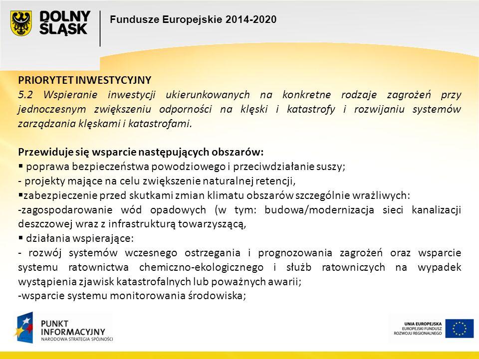 Fundusze Europejskie 2014-2020 PRIORYTET INWESTYCYJNY 5.2 Wspieranie inwestycji ukierunkowanych na konkretne rodzaje zagrożeń przy jednoczesnym zwiększeniu odporności na klęski i katastrofy i rozwijaniu systemów zarządzania klęskami i katastrofami.