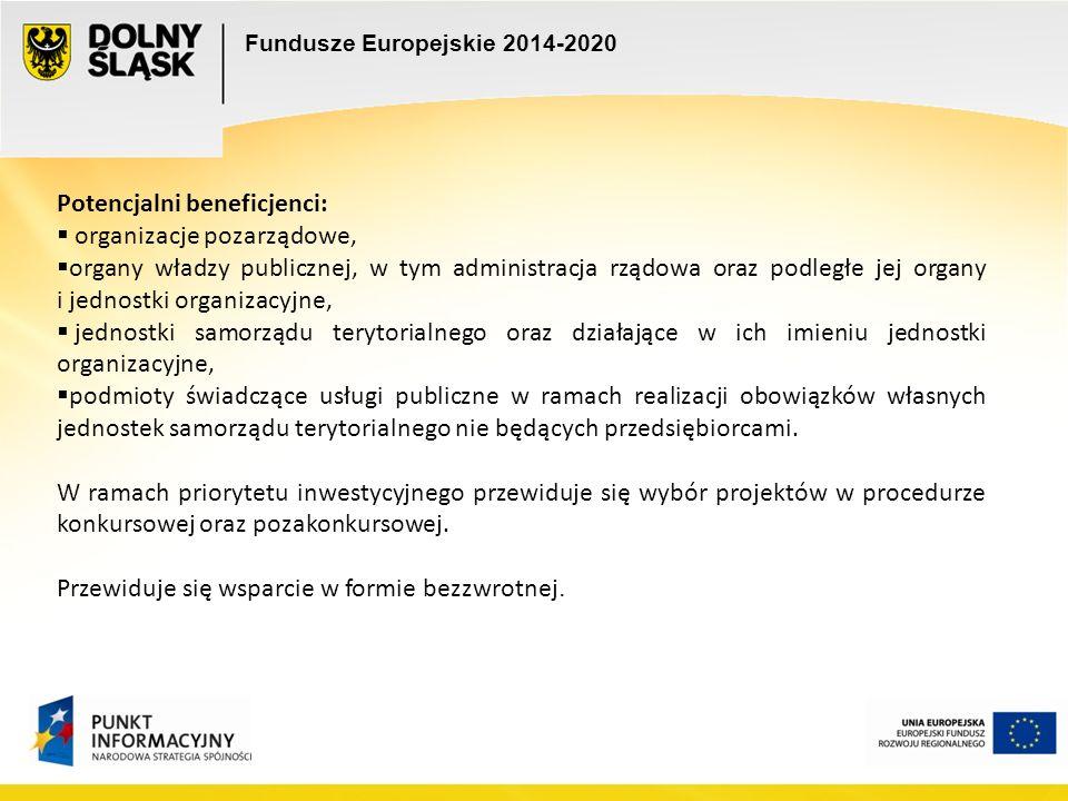 Fundusze Europejskie 2014-2020 Potencjalni beneficjenci:  organizacje pozarządowe,  organy władzy publicznej, w tym administracja rządowa oraz podległe jej organy i jednostki organizacyjne,  jednostki samorządu terytorialnego oraz działające w ich imieniu jednostki organizacyjne,  podmioty świadczące usługi publiczne w ramach realizacji obowiązków własnych jednostek samorządu terytorialnego nie będących przedsiębiorcami.