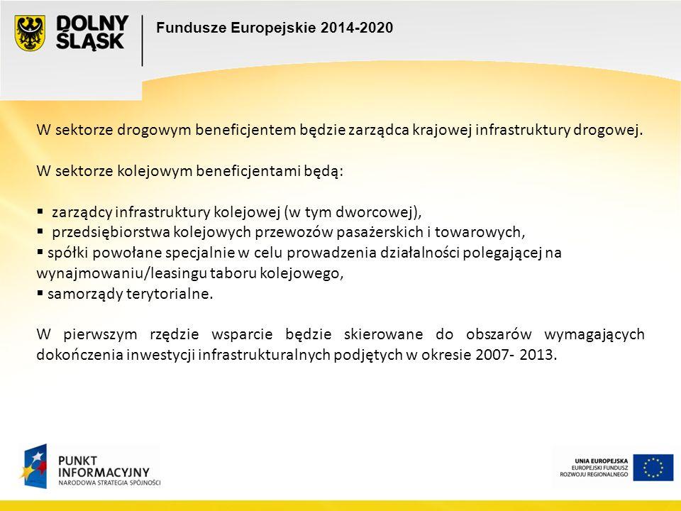 Fundusze Europejskie 2014-2020 W sektorze drogowym beneficjentem będzie zarządca krajowej infrastruktury drogowej.
