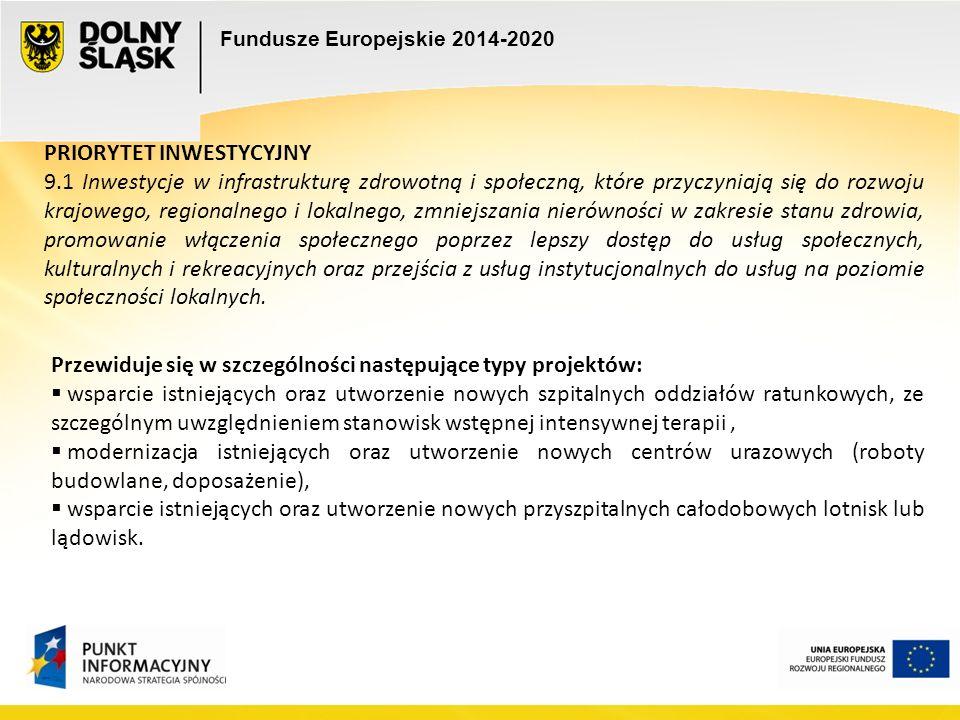 Fundusze Europejskie 2014-2020 PRIORYTET INWESTYCYJNY 9.1 Inwestycje w infrastrukturę zdrowotną i społeczną, które przyczyniają się do rozwoju krajowego, regionalnego i lokalnego, zmniejszania nierówności w zakresie stanu zdrowia, promowanie włączenia społecznego poprzez lepszy dostęp do usług społecznych, kulturalnych i rekreacyjnych oraz przejścia z usług instytucjonalnych do usług na poziomie społeczności lokalnych.