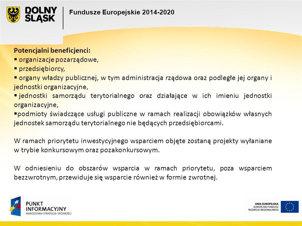 Fundusze Europejskie 2014-2020 Potencjalni beneficjenci:  organizacje pozarządowe,  przedsiębiorcy,  organy władzy publicznej, w tym administracja rządowa oraz podległe jej organy i jednostki organizacyjne,  jednostki samorządu terytorialnego oraz działające w ich imieniu jednostki organizacyjne,  podmioty świadczące usługi publiczne w ramach realizacji obowiązków własnych jednostek samorządu terytorialnego nie będących przedsiębiorcami.