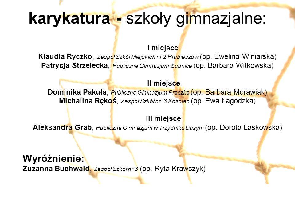 karykatura - szkoły gimnazjalne: I miejsce Klaudia Ryczko, Zespół Szkół Miejskich nr 2 Hrubieszów (op. Ewelina Winiarska) Patrycja Strzelecka, Publicz