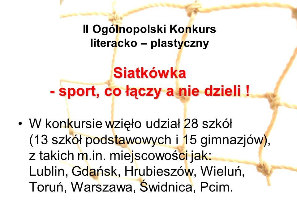 Siatkówka - sport, co łączy a nie dzieli ! II Ogólnopolski Konkurs literacko – plastyczny Siatkówka - sport, co łączy a nie dzieli ! W konkursie wzięł
