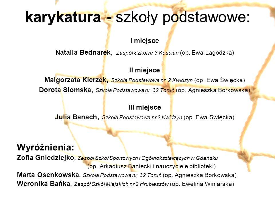 karykatura - szkoły podstawowe: I miejsce Natalia Bednarek, Zespół Szkół nr 3 Kościan (op. Ewa Łagodzka) II miejsce Małgorzata Kierzek, Szkoła Podstaw
